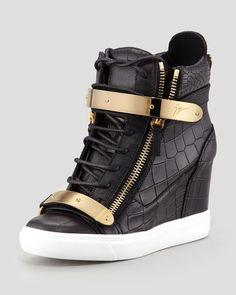 Giuseppe Zanotti Croc-Embossed Metal-Strap Wedge Sneaker, Black - YES! Black Wedge Sneakers, Wedge Shoes, Shoes Heels, Shoes Sneakers, Giuseppe Zanotti Sneakers, Zanotti Heels, Nike Boots, Sneaker Heels, Leather Wedges