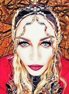 Portrait of Madonna Madonna Art, Halloween Face Makeup, Celebrity Drawings, Princess Zelda, Singer, Portrait, Divas, Character, Queen