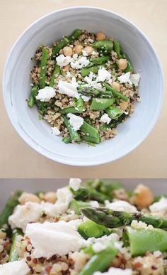 quinoa salad with chickpeas, asparagus and snap peas