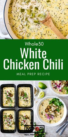 White Chicken Chili - Meal Prep on Fleek™ Lunch Recipes, Paleo Recipes, Soup Recipes, Breakfast Recipes, Dinner Recipes, Cooking Recipes, Paleo Meal Prep, White Chicken Chili, Whole 30 Recipes
