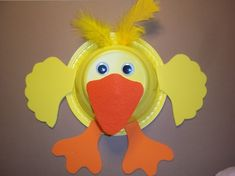 D is for DUCK craft; Materials; adhesive colored foam, feathers, wiggle eyes, plastic plate