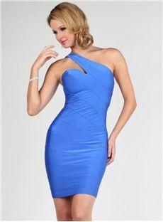 Elegant Sheath One Shoulder Zipper Up Cocktail Dress