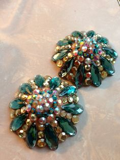 Rhinestoned burlesque pasties Green Star by GloriousPasties, $60.00