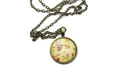 25mm Resin Photo Necklace - Yellow Flower Necklace - Resin Jewelry - Pendant Necklace for Women - Antique Bronze Chain Necklace