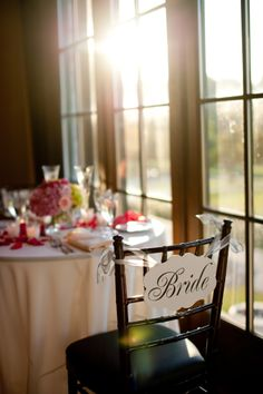 Bride to Be...darling table setting and gorgeous view of the course through the bay windows... Photography by Wendy