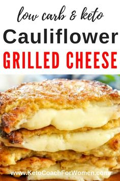 Low Carb Cauliflower Crusted Grilled Cheese - If you've been craving a grilled cheese sandwich, look no further! This low carb cauliflower crusted grilled cheese tastes like the real thing but co Ketogenic Diet For Beginners, Ketogenic Recipes, Low Carb Recipes, Diet Recipes, Slimfast Recipes, Ketogenic Supplements, Induction Recipes, Smoothie Recipes, Dessert Recipes