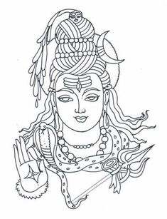 Lord Shiva or Siva is one the principal deities in Hinduism. Here is a collection of Lord Shiva Images and HD Wallpapers categorized by various groups. Kerala Mural Painting, Tanjore Painting, Art Drawings For Kids, Art Drawings Sketches, Shiva Sketch, Coloring Books, Coloring Pages, Shiva Tattoo, Lord Shiva Painting