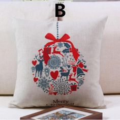 Christmas printed linen decorative pillows best gift