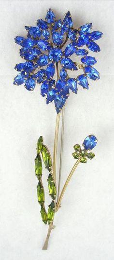 Schreiner Blue Flower Brooch - Garden Party Collection Vintage Jewelry