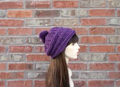 Slouchy Purple Hat / Beanie with Large Pom Pom. Will fit tweens / teens and women. Very soft and comfortable.
