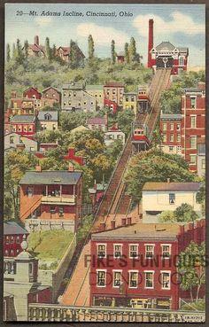 Cincinnati, Ohio Vintage Linen Postcard - Mt. Adams Incline (Unused)