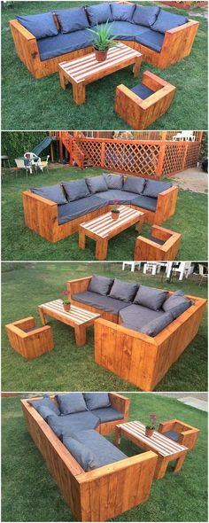 Garden Couch Set Made with Wood Pallets #palletoutdoorfurniture