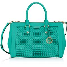 Henri Bendel West 57th Perforated Carryall (7,095 THB) ❤ liked on Polyvore featuring bags, handbags, turquoise, henri bendel, turquoise bag, handle bag, turquoise purse and hardware bag