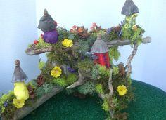 Fairy Village on Driftwood ...OOAK....Fairy House Display........One of  a Kind. $50.00, via Etsy.