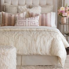 Luxury Bedding by Eastern Accents - Halo Collection - vintage rose ceiling - benjamin moore rosetone or tissue pink - Bedroom Design Ideas Modern Bedroom Decor, Master Bedroom Design, Dream Bedroom, Bedroom Designs, Master Suite, Diy Bedroom, Classy Bedroom Ideas, Blush Bedroom Decor, Pink Master Bedroom