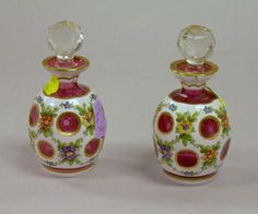Pair of European-type White-Cut-to-Cranberry Glass Perfumes.