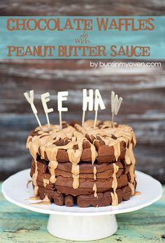Chocolate Waffles with Peanut Butter Sauce #recipe from bunsinmyoven.com | Celebrate summer break with this fun breakfast!