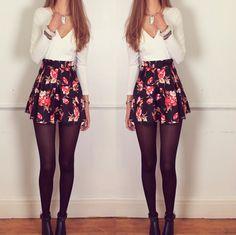 Floral Skirt Full sleeve Skater Dress – Sirenlondon from Siren London