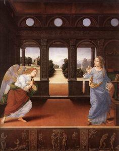 ロレンツォ・ディ・クレディ(Lorenzo di Credi)『受胎告知』(Annunciation)  1480-85頃 板・油彩 88×71cm ウフィツィ美術館 in フィレンツェ