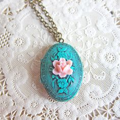 Locket Necklace Patina Verdigris Locket Necklace Shabby Chic Victorian Marie Antoinette Tiffany Blue