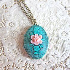 Locket Necklace Patina Verdigris Locket Necklace Shabby Chic Victorian Marie Antoinette Tiffany Blue