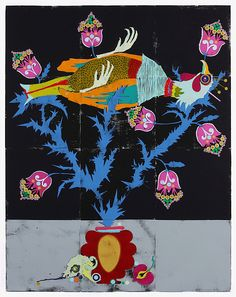 Untitled, 2010, coloured woodcut on paper, 246 x 195 cm