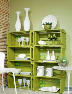 Painted Crates from: 14 DIY Wooden Crate Furniture Design Ideas Furniture Diy, Home Decor, Diy Wall Shelves, Diy Pallet Furniture, Wooden Box Shelves, Wooden Crate Furniture, Diy Wooden Crate, Diy Furniture Cheap, Wooden Diy