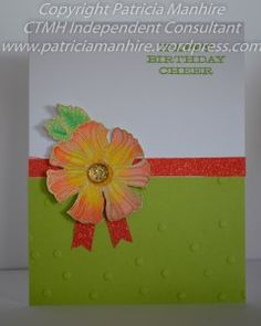 Patricia Manhire: Wavy Blooms are Perfect for Watercolouring #B1504SendingLove #D1651WavyBlooms #watercolorpaints #heatembossing #ConfettiEmbossingFolder
