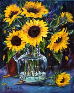 #Sunflower Oil #Painting Original #Art by JBeaudetStudios on Etsy, $350.00