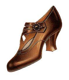 Antique Images: Women's Vintage Fashion: 1915 Vintage Shoe Clip Art Brown Buckle Pump