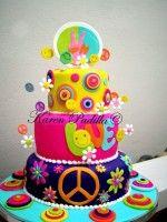 on Cake Central Hippie Party, Hippie Birthday Party, Themed Birthday Cakes, Themed Cakes, Bolo Hippie, Hippie Cake, Pretty Cakes, Cute Cakes, Tye Dye Cake