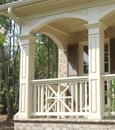 Exterior PVC railing systems by Curb Appeal Products are designed to last and are low maintenance. Shop designer PVC railings in a variety of styles and sizes. Front Porch Railings, Patio Railing, Porch Columns, Pergola, House Columns, Iron Railings, Porch Materials, Balustrade Balcon, Front Porch Addition