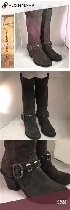 Real Leather Baretraps Boots size 6.5 buckle Real lather Buckle boots side zip. Size 6.5. Excellent condition. Dark grey color. BareTraps Shoes Combat & Moto Boots