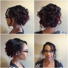 Wedding up do bride bridal bridesmaid curls waves pretty hair red highlights formal