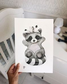 Baby Animals Art Artworks New Ideas Raccoon Drawing, Baby Drawing, Drawing Art, Baby Painting, Painting For Kids, Art For Kids, Watercolor Animals, Watercolor Cards, Cute Illustration