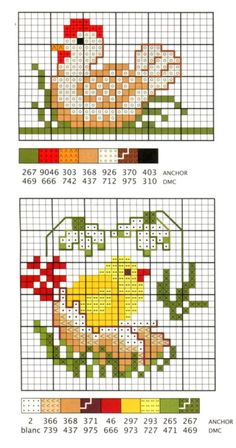 Chicken Cross Stitch, Mini Cross Stitch, Cross Stitch Animals, Cross Stitch Flowers, Counted Cross Stitch Patterns, Cross Stitch Charts, Cross Stitch Designs, Cross Stitch Embroidery, Broderie Simple