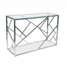 Escada C Konzolasztal 120 cm Üveg Króm Az Escada konzolasztal különleges vonalvezetése lenyűgözi a vendégeket és családtagokat egyaránt. Vonzza a tekintetet, nem lehet csak úgy elmenni mellette. Kiváló minőségű alapanyagainak köszönhetően rendkívül tartós bútordarab, hosszú ideig gyönyörködhetsz egyedülálló szépségében. Escada, Decor, Side Table, Furniture, Table, Home, Coffee Table, Home Decor