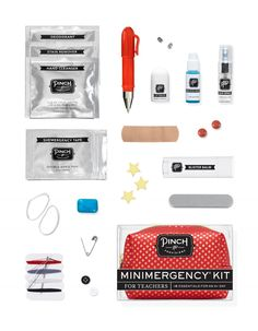 Great gift idea for teachers! The Minimergency Kit contains 18 teacher essentials, including pain reliever, caffeine gum, blister balm, gold stars and a red grading pen.