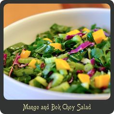 Mango and Bok Choy Salad—Super light and refreshing salad, perfect for summer!