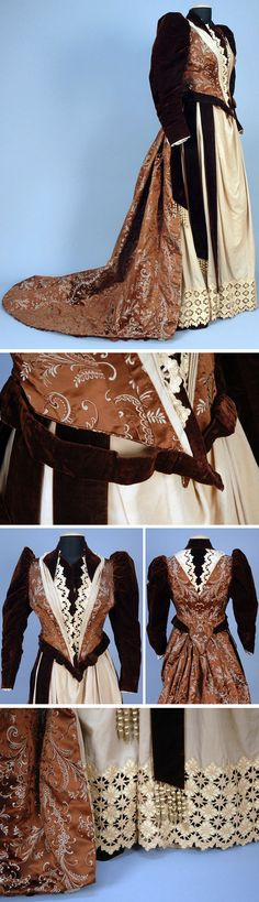 Gown ca. 1892. Wool, velvet, and brocade. Brown satin with stylized floral brocade trimmed in ecru wool with cutwork and embroidery, brocade. Two pieces, with boned bodice with velvet gigot sleeve, and collar & neck insert. Skirt has woolen front panel trimmed with velvet bands, silk tassels, & cutwork hem band. Taffeta lining. Whitaker Auctions