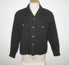 Vintage 1950s Shirt / 50s Black Shirt /50s Black Wool Shirt / 50s Black Shirt With Red & White Woven Design By Penney's Towncraft - M by SayItWithVintage on Etsy