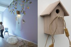 Birdhouse lamp  Made in small series from sustainable french oak. Included are a set of wallpaper birds, and a CFL-energy saving light bulb. The perfect accessory for your wallpaper tree!