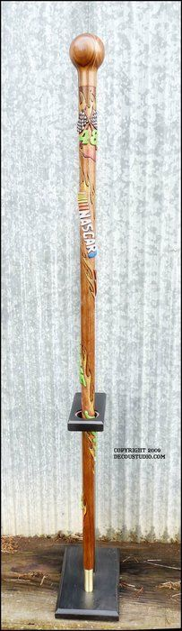 Race Fan Cane: NASCAR Inspired Walking Cane, Driver Jimmie Johnson #48 Carved Stick & Knob