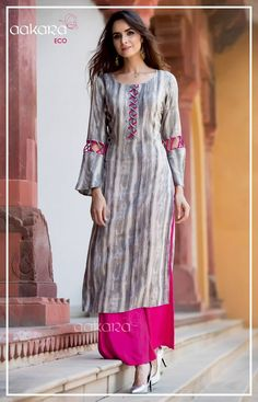 Kurti sleeves design - Eco Vol 3 by Aakara Fancy Designer Printed Rayon Slub Ruby Silk Cotton Readymade Long Straight Casual Kurtis with Palazzo Bottom at Wholesale Rate Ethnic Export Salwar Neck Designs, Kurta Neck Design, Kurta Designs Women, Dress Neck Designs, Sleeve Designs, Blouse Designs, Long Kurta Designs, Latest Kurti Designs, Printed Kurti Designs