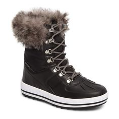 Women's Cougar Viper Waterproof Snow Boot With Faux Fur Trim ($150) ❤ liked on Polyvore featuring shoes, boots, black, clear boots, waterproof snow boots, faux fur lined boots, black shoes and faux fur boots