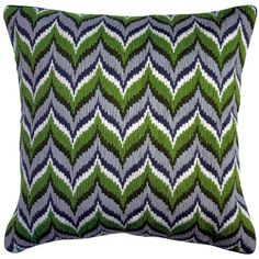 Jonathan Adler Flame Green Bargellow Pillow