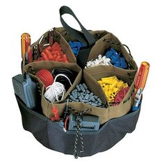 This versatile drawstring Bucket Bag has 6 center compartments for organizing small parts and 16 other pockets and sleeves for a variety of hand tools and accessories. Belt Storage, Tool Storage, Storage Ideas, Garage Drawing, Work Belt, Belt Pouch, Small Bags, Leather Craft, Baby Car Seats