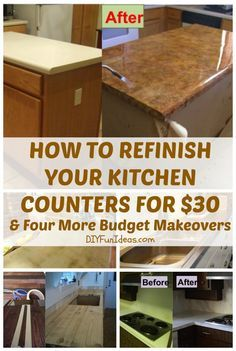 Refinish Your Kitchen Counter Tops For Only $30! Plus FOUR MORE BUDGET COUNTER MAKEOVERS ..........& more @ DIYFUNIDEAS.COM