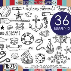 Drawing Doodles Ideas - Nautical Doodle Clip Art Set Hand drawn and design by Nedti YOU WILL RECEIVE: Total 107 Clip Art Images in PNG format separated folders, 1 zipped file) Folder 36 PNG images, Black Lines Doodle Drawings, Doodle Art, Writing Art, Nautical Theme, Clipart, Art Images, Line Art, Coloring Pages, How To Draw Hands