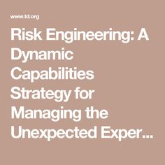 Risk Engineering: A Dynamic Capabilities Strategy for Managing the Unexpected Experimentally